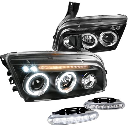 Spec-D Tuning For 2006-2010 Dodge Charger Se Sxt Black Halo Projector Headlights + Led Fog Lamps Set (Left+Right) 2006 2007 2008 2009 2010
