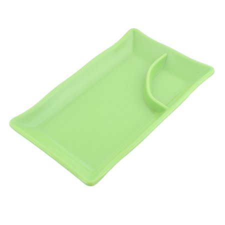 Unique Bargains Plastic 2 Compartments Dumpling Sushi Soy Sauce Mustard Dipping Dish Plate Green Green Sauce Dish