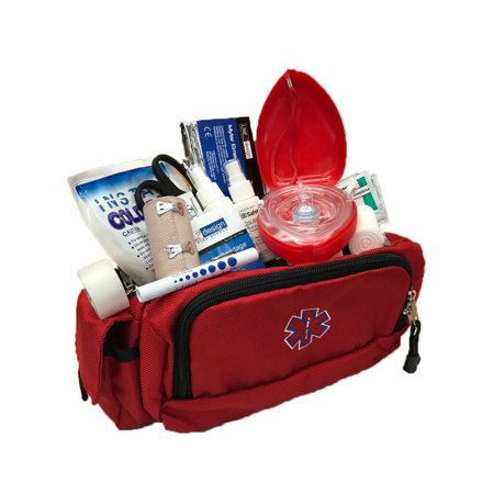 LINE2design Deluxe Emergency Rescue First Aid Fanny Pack Kit Large EMS Bag - Red ()
