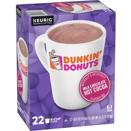 Dunkin' Donuts Milk Chocolate Hot Cocoa K-Cup Pods, 22 Count for Keurig (Dunkin Donuts Box Of Joe Hot Chocolate)