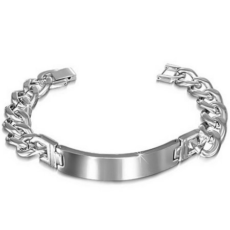 Stainless Steel Link Chain Name Tag Silver-Tone Mens