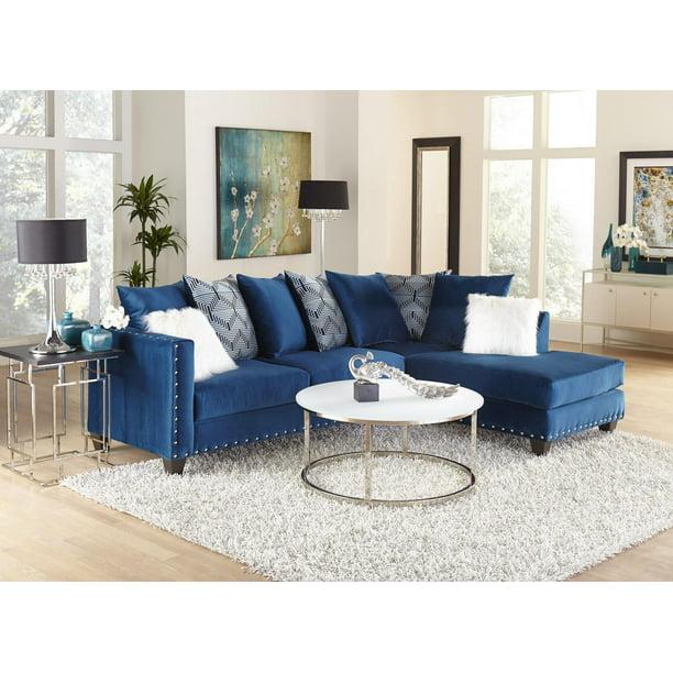 Dakota Sapphire Blue Sectional Color Blue Style Contemporary Walmart Com Walmart Com