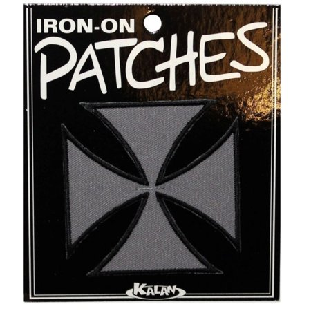 Grey Maltese Cross Patch Biker Badge Symbol Embroidered Iron On Applique