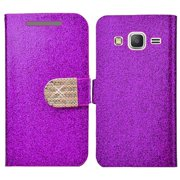 Premium Leather Luxury Bling Flip Case Folio Wallet Cover with ID Credit Card Slot for Samsung GALAXY Grand Prime G530, Samsung GALAXY Go Prime G530 - Purple