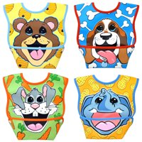 Dexbaby Waterproof Dura-Bib Big Mouth SMALL, Patented Catch-All Pocket, 4-Pack (Puppy, Elephant, Bear Cub, Bunny)