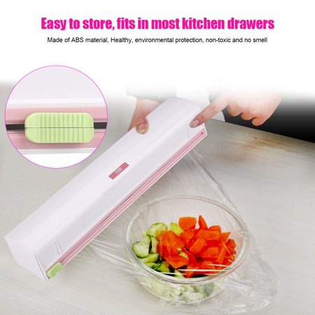 Tbest Plastic Food Wrap Dispenser Wrap Cutter Foil and Cling Film Cutte Storage Kitchen, Wrap Cutter, Wrap Cutter Foil