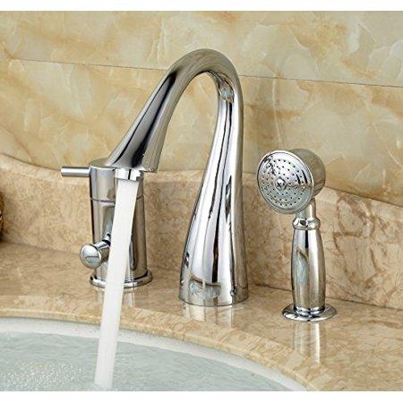 Rozin Deck Mount 3 Holes Bathtub Faucet Single Lever Mixer With