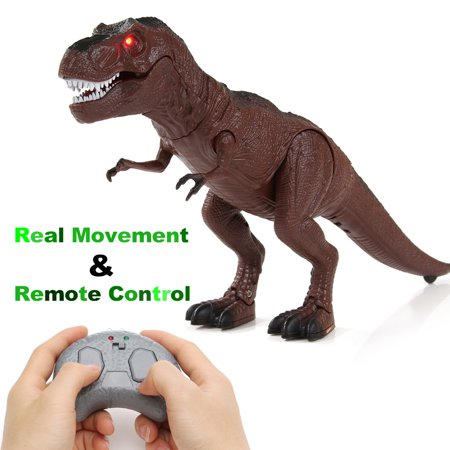 Remote Control Dinosaur Figure Kids Toy w/Shaking Head, Real Walking Movement, Light Up Eyes & Sounds Children Gift