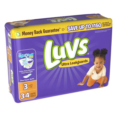 Luvs Ultra Leakguards Diapers Size 3, 34 Count (Luv Skis)