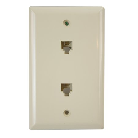 Ivory Eagle - Eagle Electric 3546-4V Ivory 2 Port Duplex Voice Data Phone Faceplate Wall Plate (10 Pack)