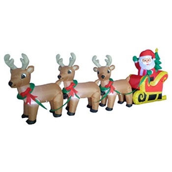 BZB Goods Christmas Inflatable Santa Claus on Sleigh Sled Indoor/Outdoor Decoration