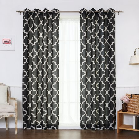 Navy Block - Quality Home Flex Linen Blend Moroccan Nickel Grommet Curtains - Black - 52