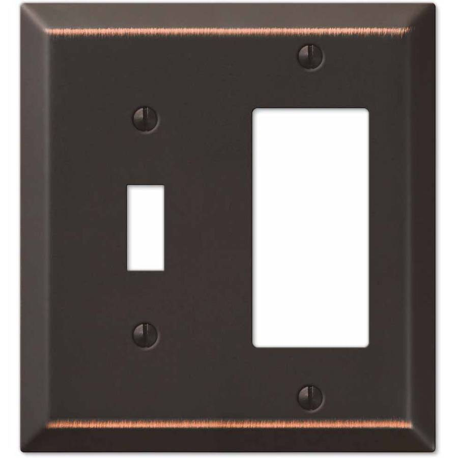 Century Aged Bronze Steel Single Roggle/Single Rocker Wallplate