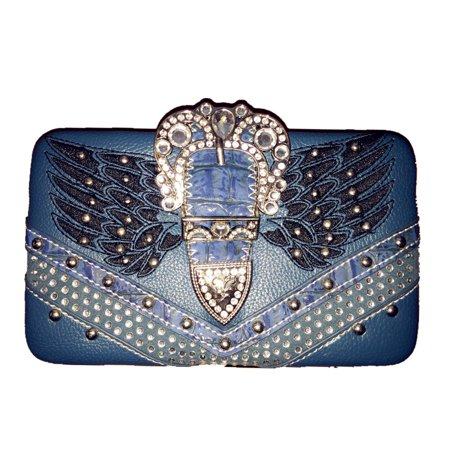 Rhinestone Angel Wings Buckle Clip Women Wallet With Extra Checkbook In Multi Colors