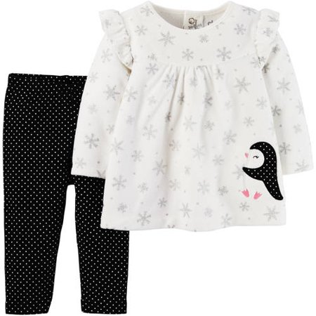 Child of Mine by Carter's Newborn Baby Girl Long Sleeve Shirt and Pant Set
