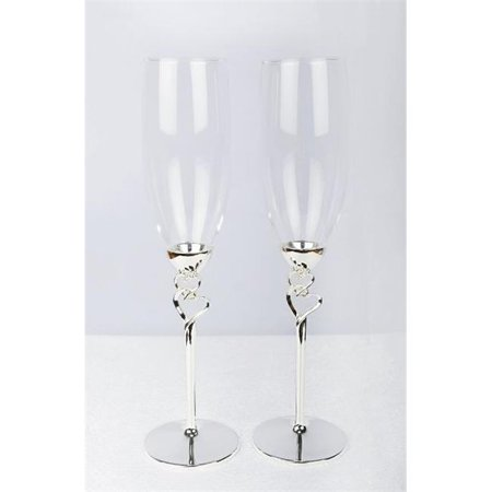 Double Hearts Toasting Flutes & Champagne Glasses ()