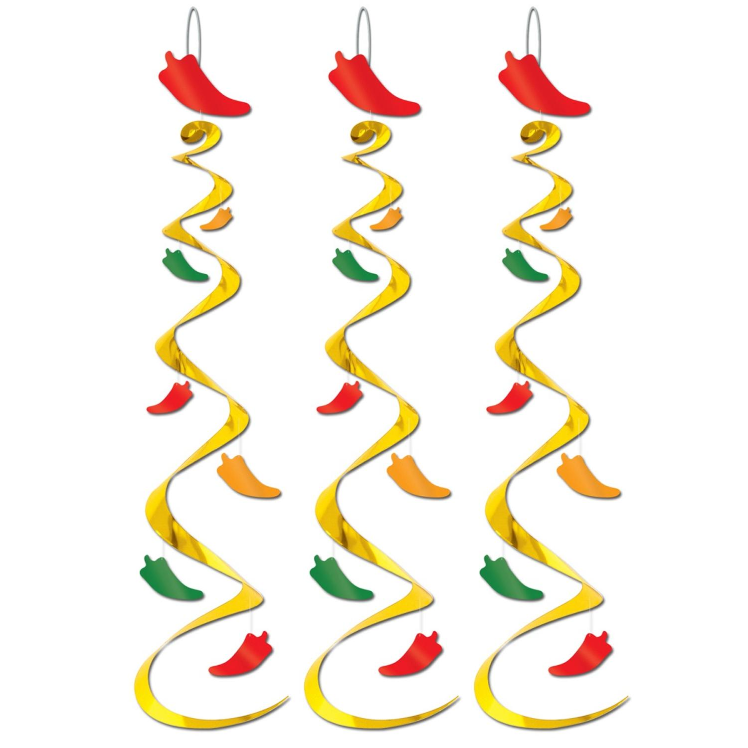 """Club Pack of 18 Red Hot Chili Pepper Whirl Hanging Decorations 30"""""""