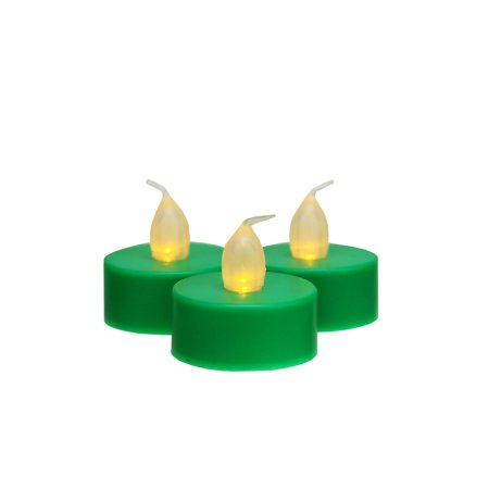 Set of 3 Battery Operated LED Flickering Amber Lighted Green Christmas Tea Light Candles 1.5