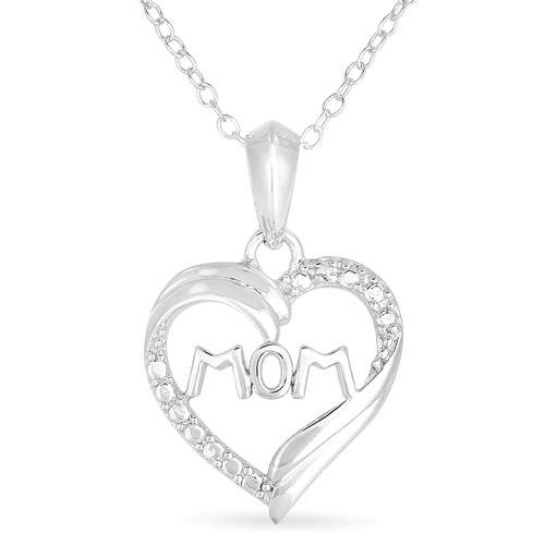 "Diamond-Accent Sterling Silver ""Mom"" Heart Pendant, 18"""
