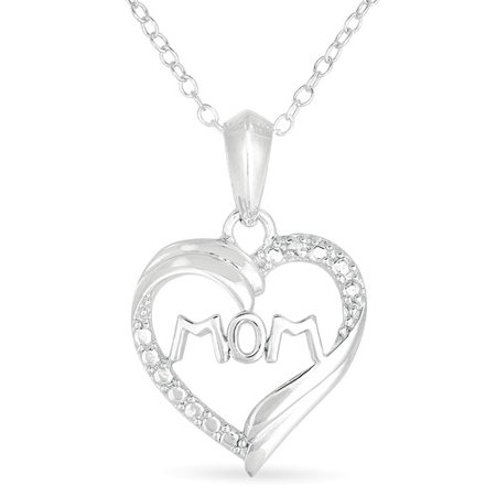 Diamond Accent Sterling Silver  Mom  Heart Pendant  18