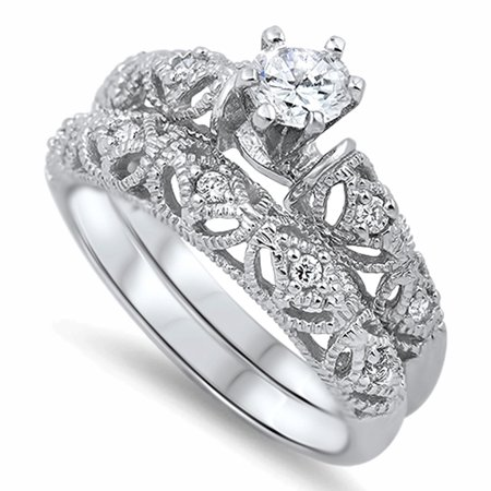 Men Women Sterling Silver 6mm Round CZ Solitaire Vintage Style Engagement Ring ()