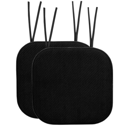 Memory Foam Honeycomb Non-Slip Back Chair Cushion Pad with Ties 2 Pack Black Garden Collection Back Cushion Canvas