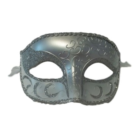 White Silver Venetian Men Elegant Masquerade Mardi Gras Halloween Costume Mask - Mardi Gras Mask On A Stick