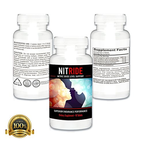 Nitride Premium Nitric Oxide Booster For Increased Blood Flow, Stamina, Stimulate Libido & Ability, Men, Push Beyond Former Limits Today (3 Bottles)