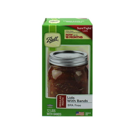 Ball Regular Mouth Jar Lids and Bands, 12 Count (Round Decorative Jar)