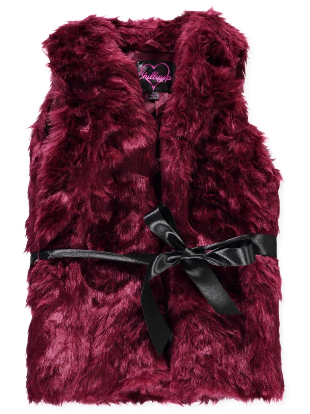 Chillipop Girls' Belted Faux Fur Vest