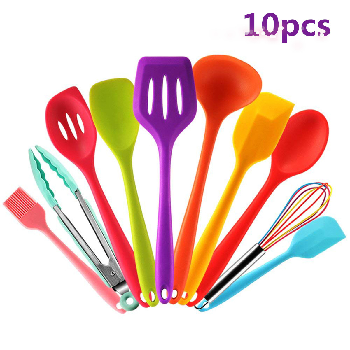 Heat-Resistant Silicone Baking Tool Sets 10 pcs Silicone Utensils Set Safety Health Non-Stick
