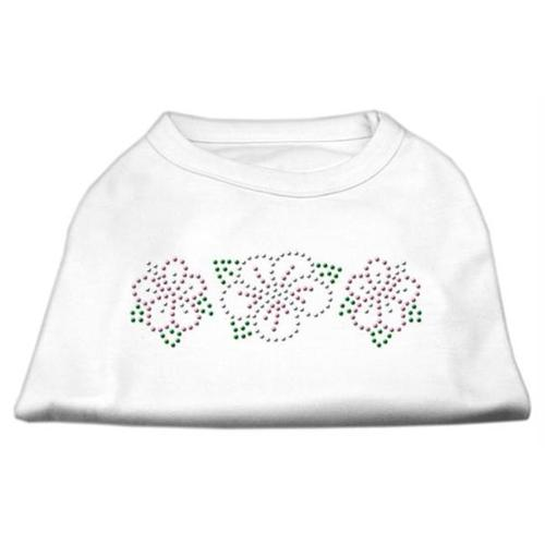 Tropical Flower Rhinestone Shirts White S (10)