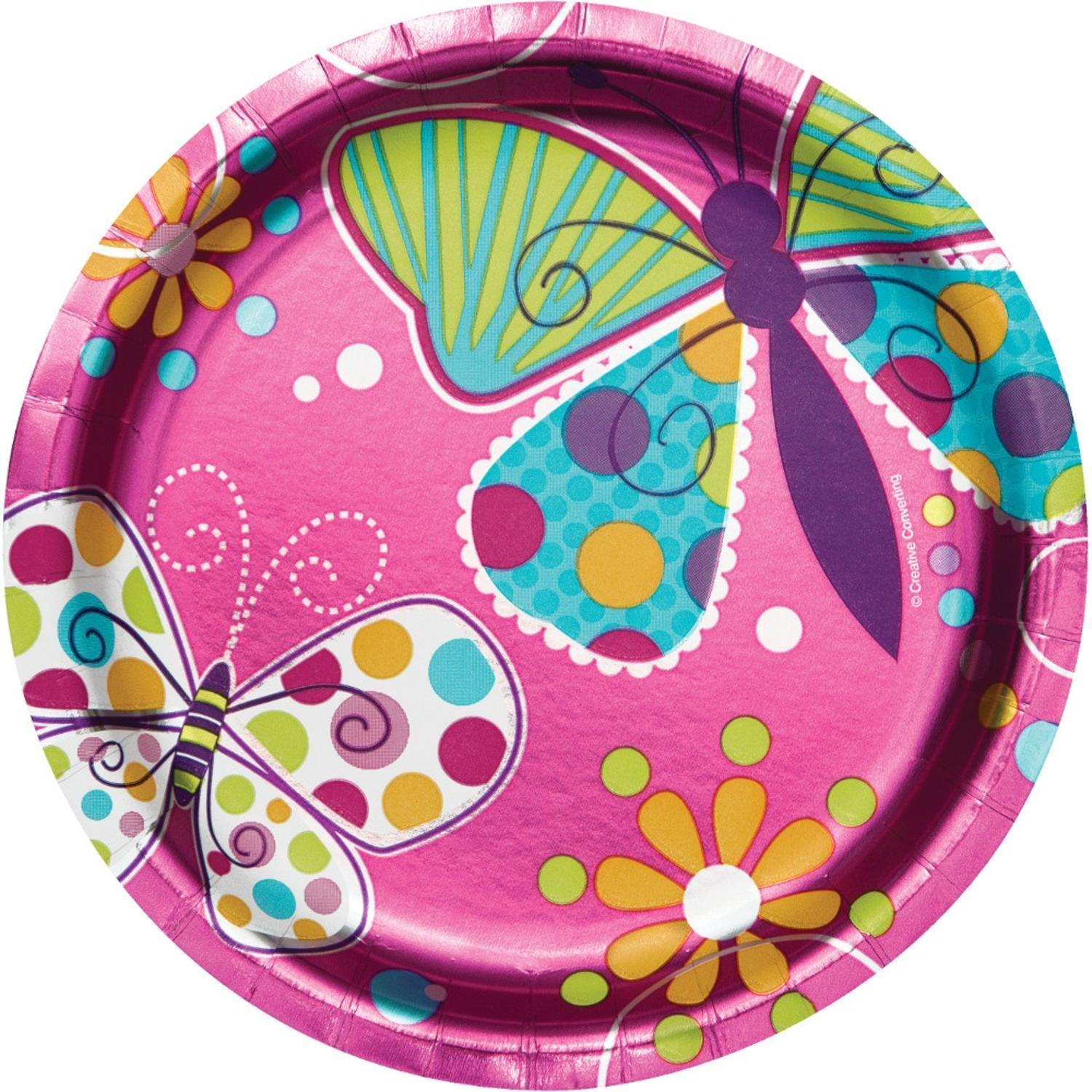 Club Pack of 96 Pink Butterfly Sparkle Paper Foil Luncheon Party Plates 7""