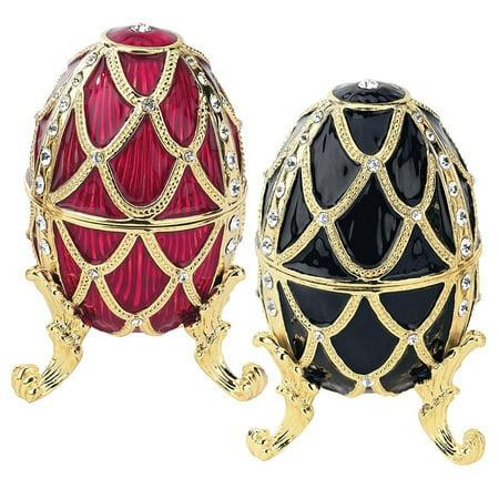 Golden Trellis Faberge Style Enameled Eggs: Set of Rouge & Ebene ()