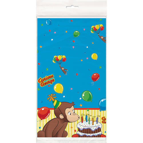 "Plastic Curious George Table Cover, 84"" x 54"""