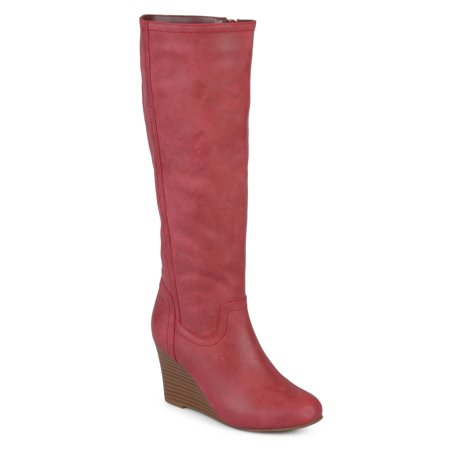 Burgundy Leather Calf Boots - Women's Wide Calf Round Toe Faux Leather Mid-calf Wedge Boots