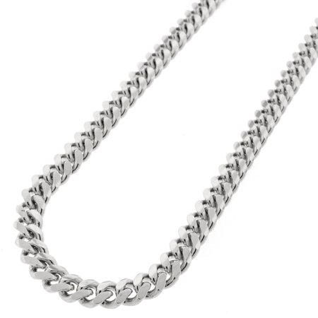 Chain Silver Rhodium Plated (.925 Sterling Silver 6.5mm Solid Miami Cuban Curb Link Rhodium Plated Chain Necklace 24