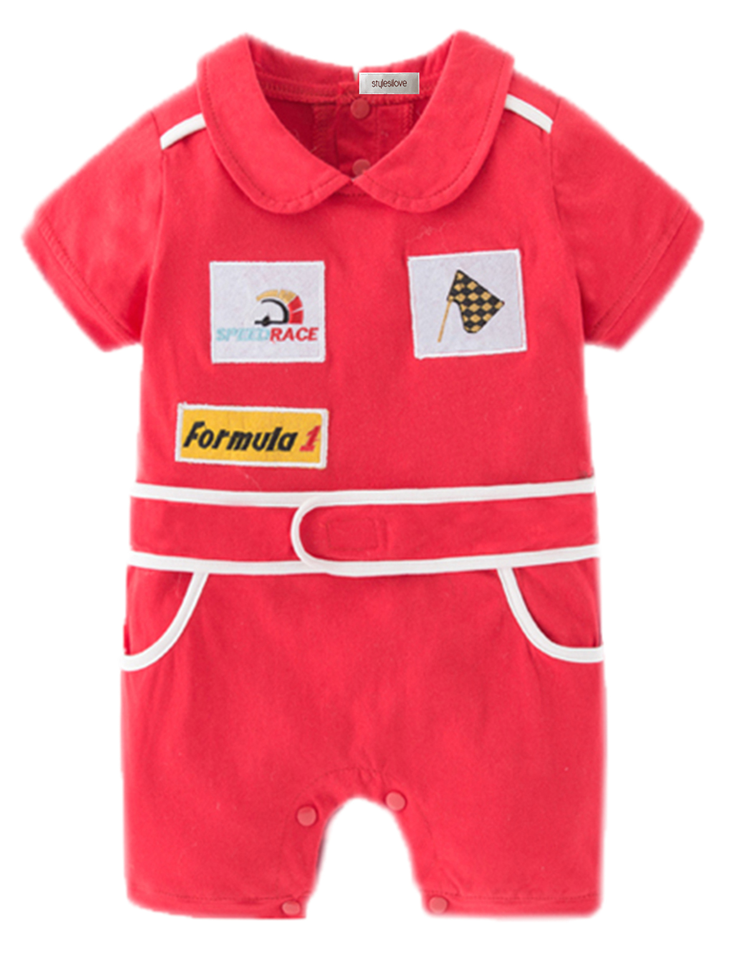 StylesILove Baby Boy Chic Red Car Racer Costume Romper (6-12 Months)