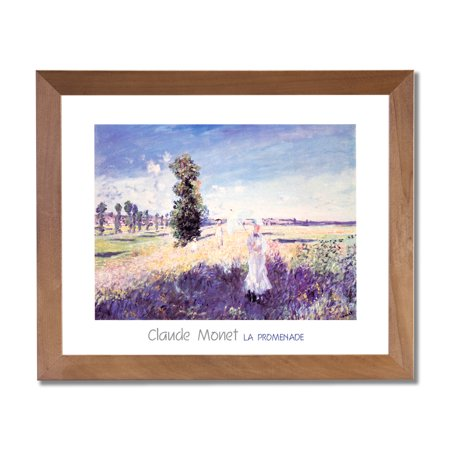 Claude Monet Woman with Umbrella Floral Wall Picture Honey Framed Art Print ()