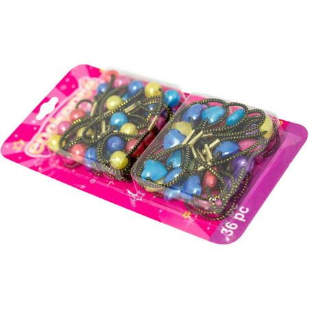 (2 Pack) Enchante Accessories Kid's Small Twin Bead Hair Ties, 36 count - Slinky Hair Ties
