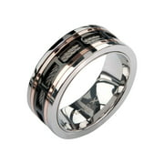 Men's Stainless Steel Cable in IP Black and IP Rose Gold Window Steel Spinner Polished Ring