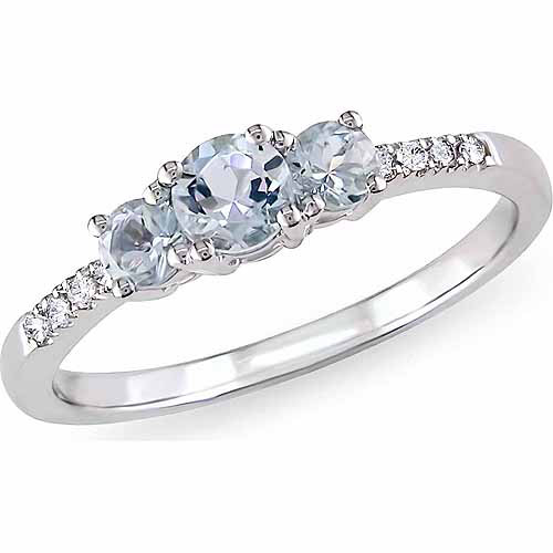 1/2 Carat T.G.W. Aquamarine and Diamond-Accent 10kt White Gold 3-Stone Ring