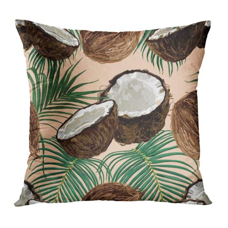 ECCOT Brown Coco Beautiful Tropical Pattern Coconut and Palm Leaves Green Vintage Oil Sketch Tree Beach Pillowcase Pillow Cover Cushion Case 16x16 (Curry Leaves And Coconut Oil For Hair Growth)