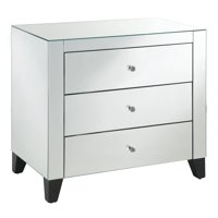 Mirrored 3-Drawer Chest w/Clear Drawer Pulls, Black Legs