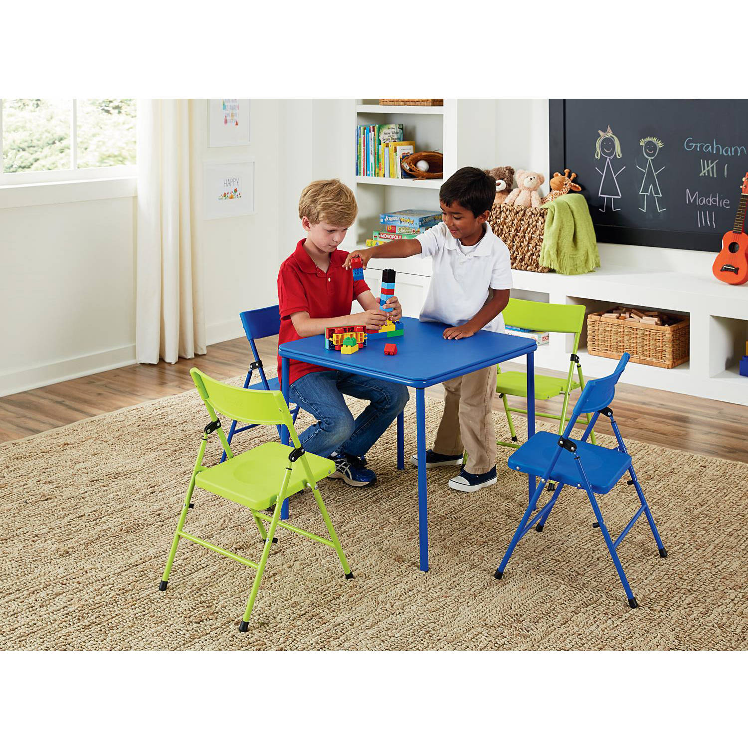 Cosco 5-Piece Kid's Table and Chair Set, Multiple Colors