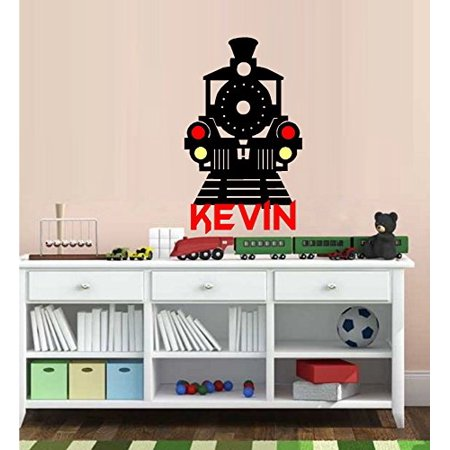 Train Wall - Decal ~ Train with Vinyl Colored Lights #7 ( Custom Name ) Children Wall decal ~ 20