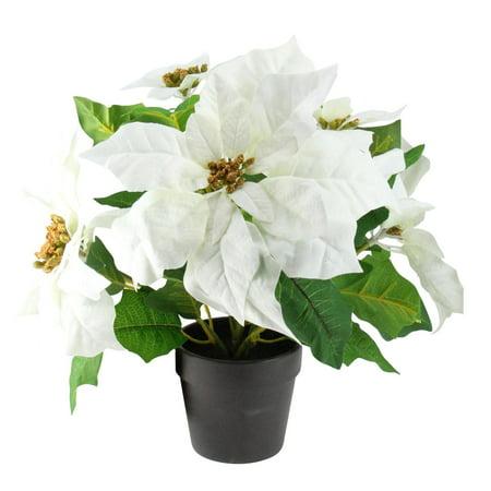 14 5 White Artificial Christmas Poinsettia Flower Plant Walmart