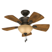 """Hunter 34"""" Watson Brushed Nickel Ceiling Fan with Light Kit and Pull Chain"""