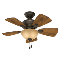 "Hunter 34"" Watson New Bronze Ceiling Fan with Light Kit and Pull Chain"