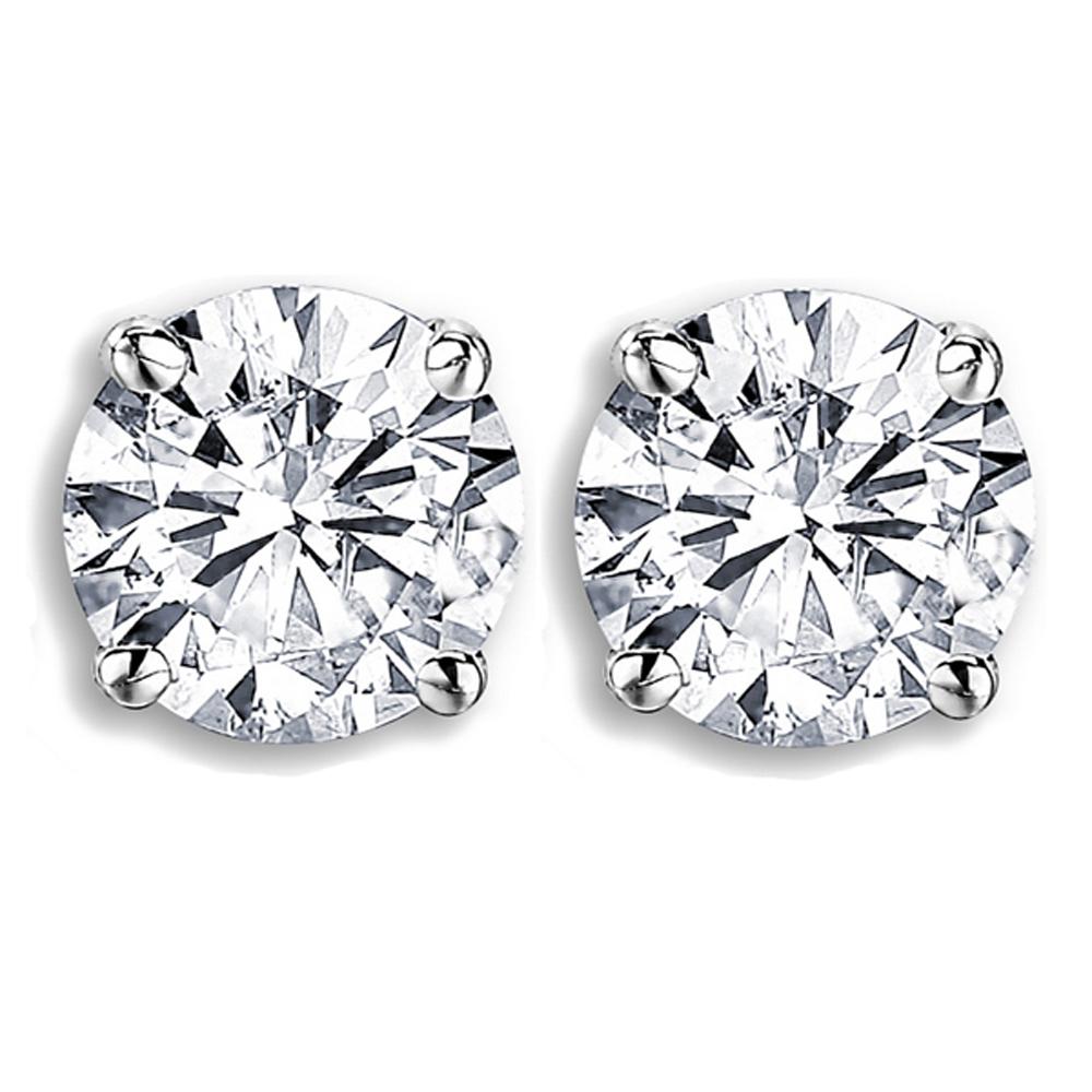 IGI Certified 1.00 Carat (ctw) 14K White Gold Round Cut White Diamond Ladies Stud Earrings 1 CT